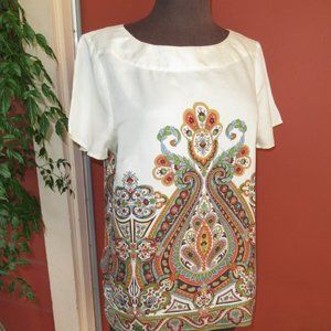 Talbots 100% Silk Paisley Pattern Blouse 12P